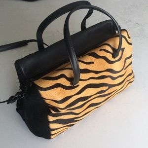 Zara Tiger print hide and leather bag
